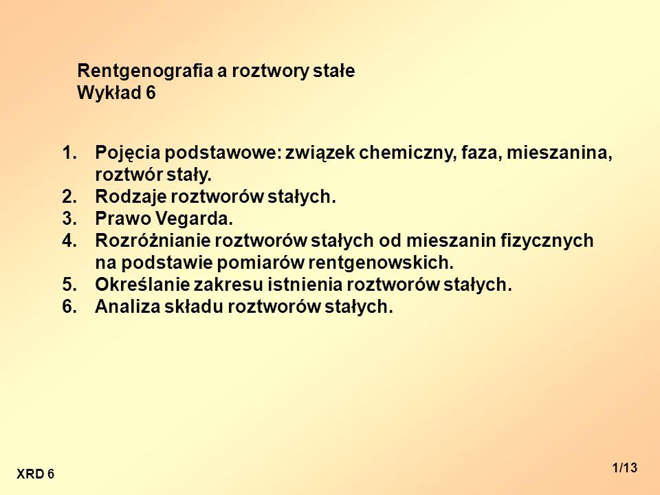 XRD 6 1/13 Rentgenografia a roztwory stałe Wykład 6 1.Pojęcia podstawowe: związek chemiczny, faza, mieszanina, roztwór stały. 2.Rodzaje roztworów stał