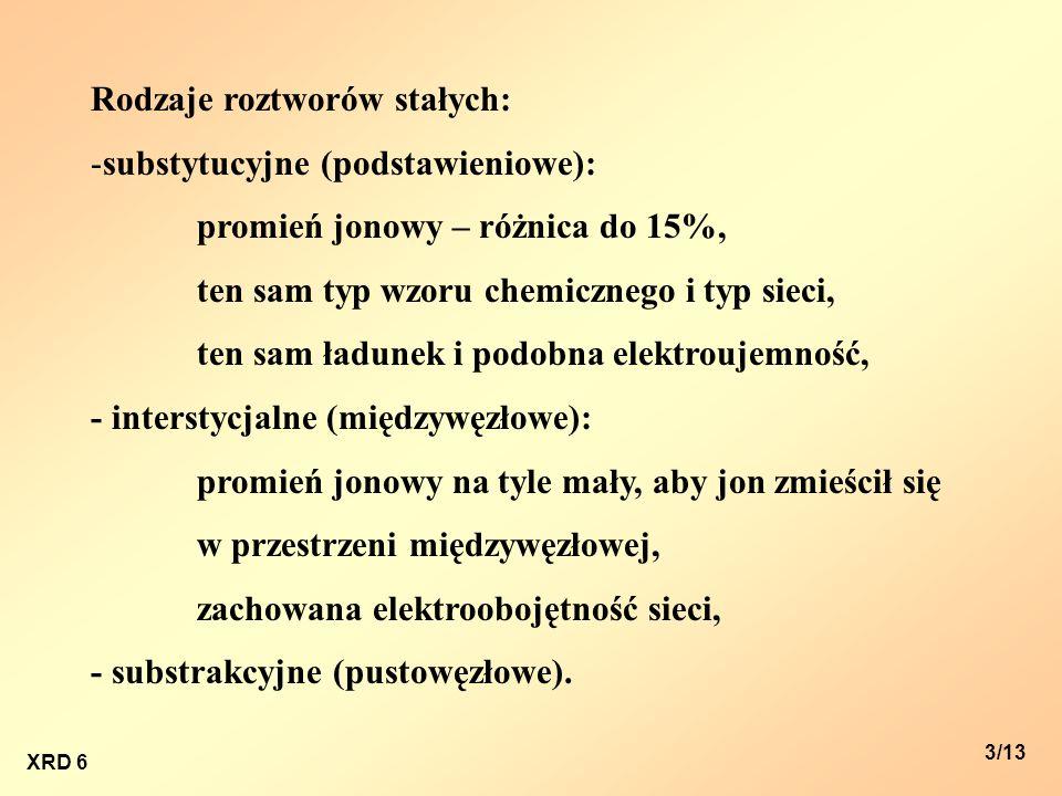 XRD 6 3/13 Rodzaje roztworów stałych: -substytucyjne (podstawieniowe): promień jonowy – różnica do 15%, ten sam typ wzoru chemicznego i typ sieci, ten