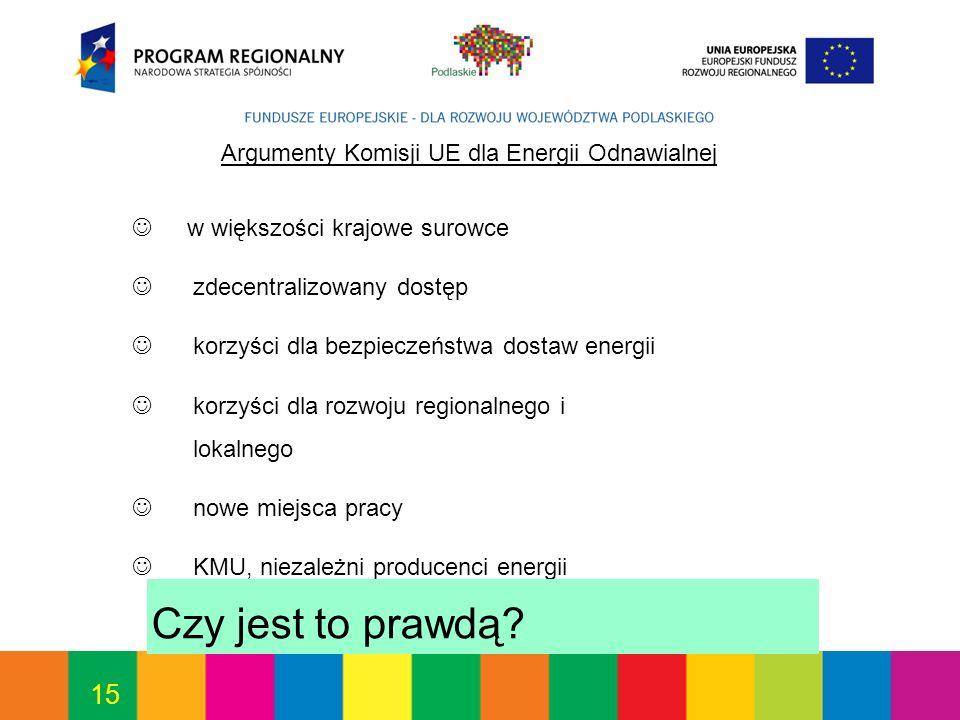 15 Argumenty Komisji UE dla Energii Odnawialnej w większości krajowe surowce zdecentralizowany dostęp korzyści dla bezpieczeństwa dostaw energii korzyści dla rozwoju regionalnego i lokalnego nowe miejsca pracy KMU, niezależni producenci energii Czy jest to prawdą?