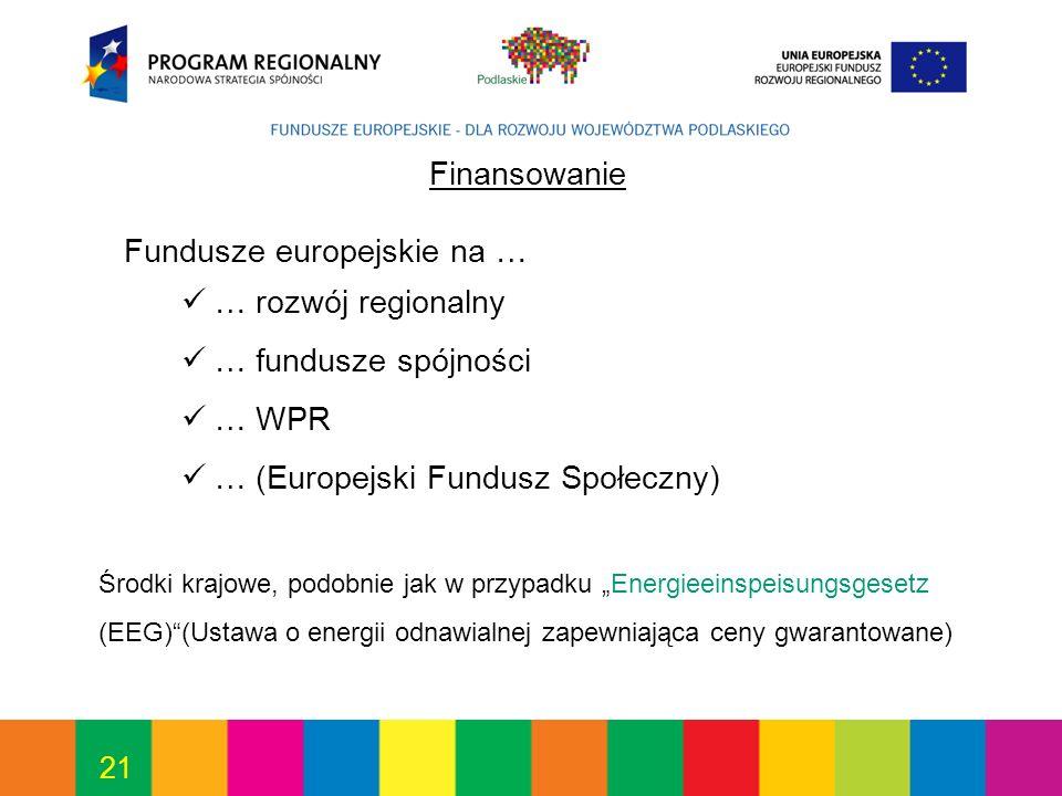 21 Finansowanie Fundusze europejskie na … … rozwój regionalny … fundusze spójności … WPR … (Europejski Fundusz Społeczny) Środki krajowe, podobnie jak w przypadku Energieeinspeisungsgesetz (EEG)(Ustawa o energii odnawialnej zapewniająca ceny gwarantowane)