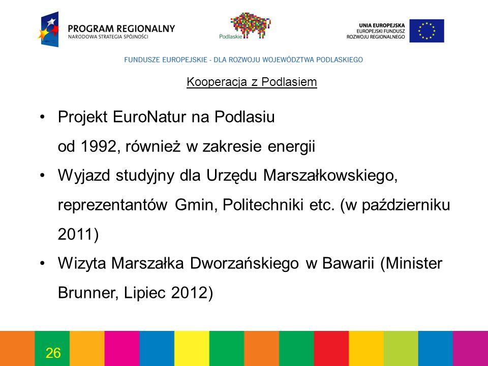26 Kooperacja z Podlasiem Projekt EuroNatur na Podlasiu od 1992, również w zakresie energii Wyjazd studyjny dla Urzędu Marszałkowskiego, reprezentantów Gmin, Politechniki etc.