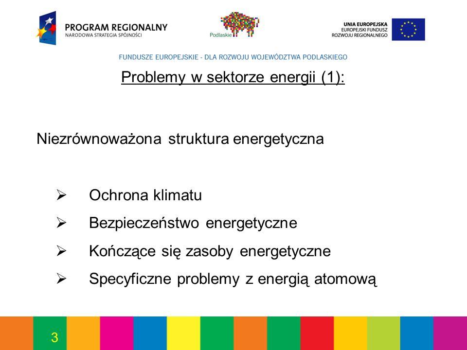 3 Problemy w sektorze energii (1): Niezrównoważona struktura energetyczna Ochrona klimatu Bezpieczeństwo energetyczne Kończące się zasoby energetyczne Specyficzne problemy z energią atomową