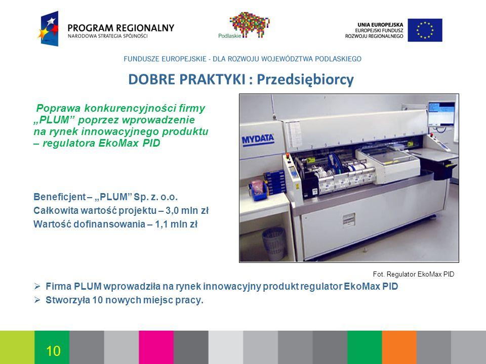 Białystok, 12.07.2010 10 DOBRE PRAKTYKI : Przedsiębiorcy Poprawa konkurencyjności firmy PLUM poprzez wprowadzenie na rynek innowacyjnego produktu – re