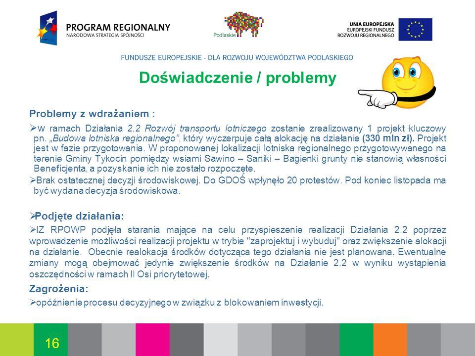 Białystok, 12.07.2010 16 Doświadczenie / problemy Problemy z wdrażaniem : w ramach Działania 2.2 Rozwój transportu lotniczego zostanie zrealizowany 1