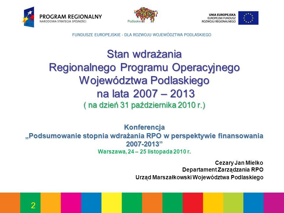2 Stan wdrażania Regionalnego Programu Operacyjnego Województwa Podlaskiego na lata 2007 – 2013 ( na dzień 31 października 2010 r.) Konferencja Podsum