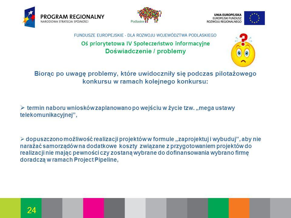 Białystok, 12.07.2010 24 Oś priorytetowa IV Społeczeństwo informacyjne Doświadczenie / problemy Biorąc po uwagę problemy, które uwidoczniły się podcza