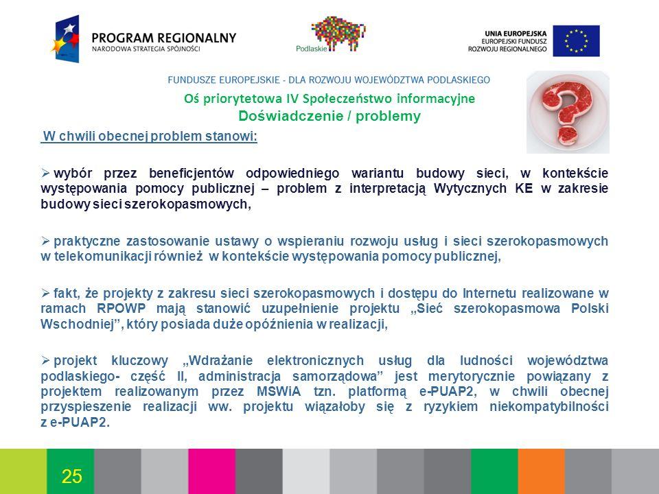 Białystok, 12.07.2010 25 Oś priorytetowa IV Społeczeństwo informacyjne Doświadczenie / problemy W chwili obecnej problem stanowi: wybór przez beneficj