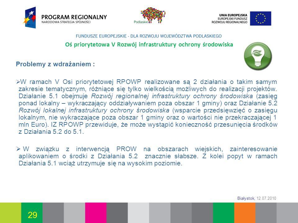 Białystok, 12.07.2010 29 Oś priorytetowa V Rozwój infrastruktury ochrony środowiska Problemy z wdrażaniem : W ramach V Osi priorytetowej RPOWP realizo