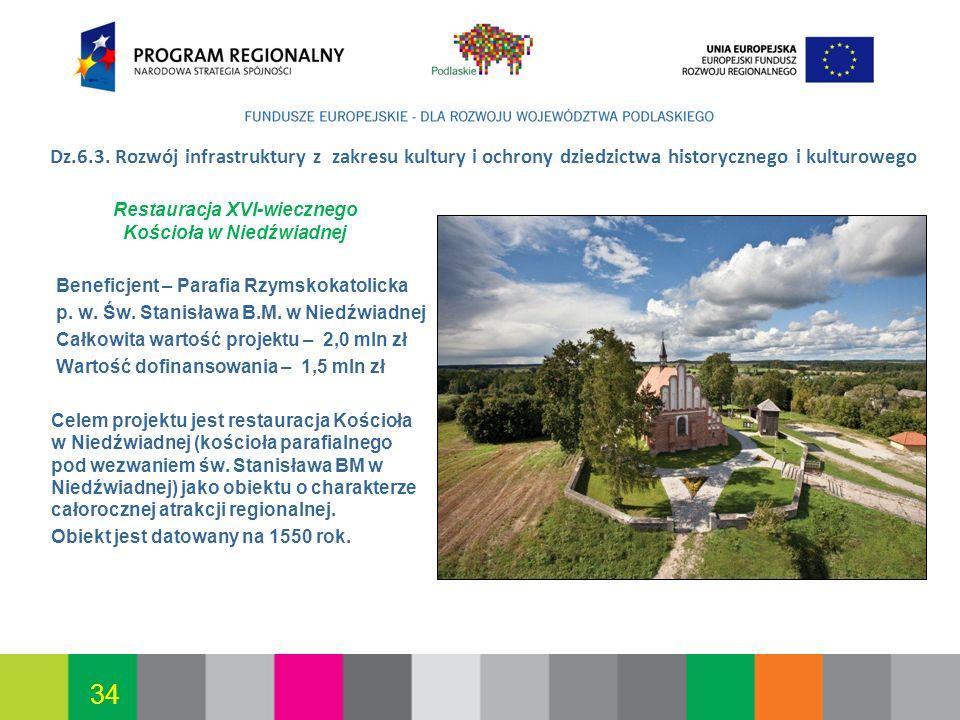 Białystok, 12.07.2010 34 Dz.6.3. Rozwój infrastruktury z zakresu kultury i ochrony dziedzictwa historycznego i kulturowego Restauracja XVI-wiecznego K