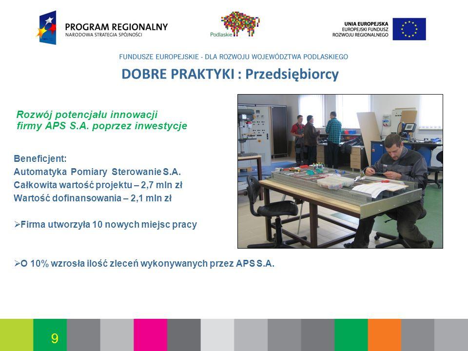 Białystok, 12.07.2010 9 DOBRE PRAKTYKI : Przedsiębiorcy Rozwój potencjału innowacji firmy APS S.A. poprzez inwestycje Beneficjent: Automatyka Pomiary