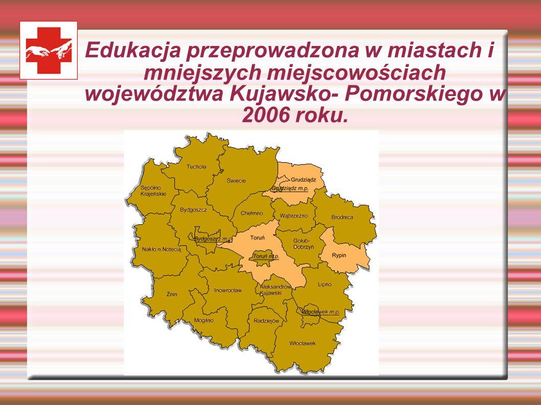 Edukacja przeprowadzona w miastach i mniejszych miejscowościach województwa Kujawsko- Pomorskiego w 2006 roku.