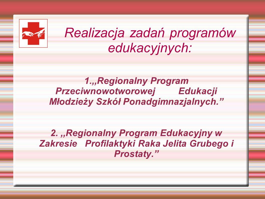 Realizacja zadań programów edukacyjnych: 1.,,Regionalny Program Przeciwnowotworowej Edukacji Młodzieży Szkół Ponadgimnazjalnych. 2.,,Regionalny Progra