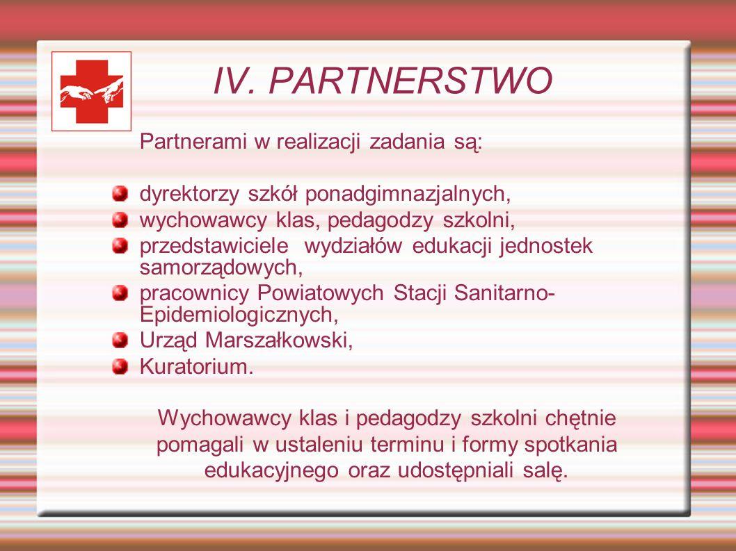 IV. PARTNERSTWO Partnerami w realizacji zadania są: dyrektorzy szkół ponadgimnazjalnych, wychowawcy klas, pedagodzy szkolni, przedstawiciele wydziałów