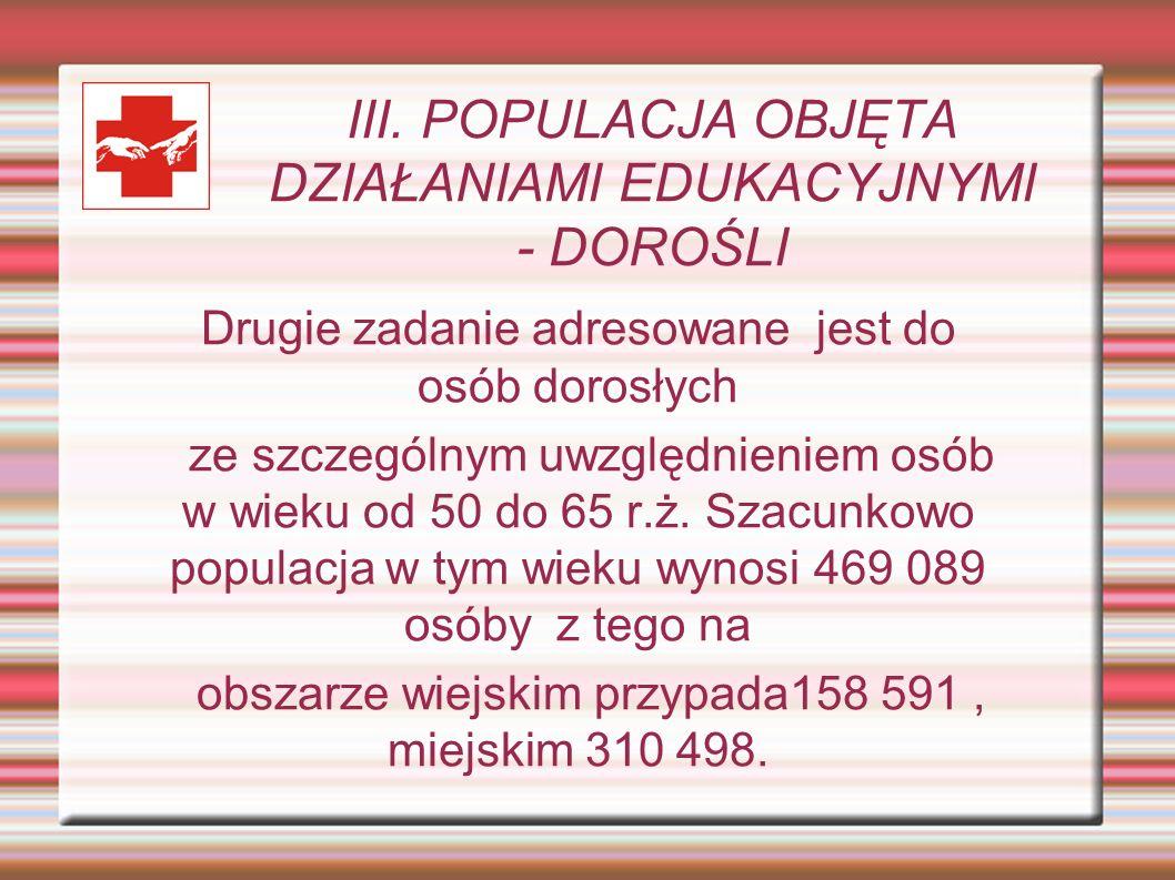 III. POPULACJA OBJĘTA DZIAŁANIAMI EDUKACYJNYMI - DOROŚLI Drugie zadanie adresowane jest do osób dorosłych ze szczególnym uwzględnieniem osób w wieku o