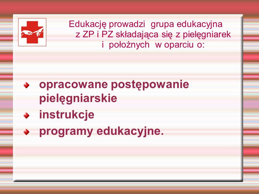 opracowane postępowanie pielęgniarskie instrukcje programy edukacyjne. Edukację prowadzi grupa edukacyjna z ZP i PZ składająca się z pielęgniarek i po
