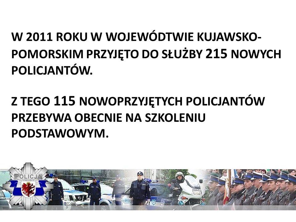 W 2011 ROKU W WOJEWÓDTWIE KUJAWSKO- POMORSKIM PRZYJĘTO DO SŁUŻBY 215 NOWYCH POLICJANTÓW. Z TEGO 115 NOWOPRZYJĘTYCH POLICJANTÓW PRZEBYWA OBECNIE NA SZK