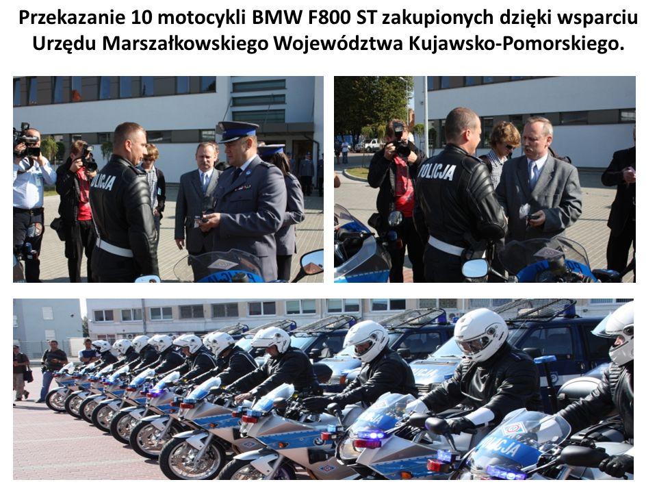 Przekazanie 10 motocykli BMW F800 ST zakupionych dzięki wsparciu Urzędu Marszałkowskiego Województwa Kujawsko-Pomorskiego.