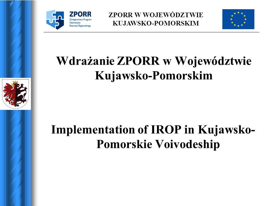 ZPORR W WOJEWÓDZTWIE KUJAWSKO-POMORSKIM REGIONALNY PODZIAŁ FUNDUSZY W RAMACH ZPORR (w mln euro) REGIONAL DISTRIBUTION OF RESOURCES WITHIN IROP (in mln euros)