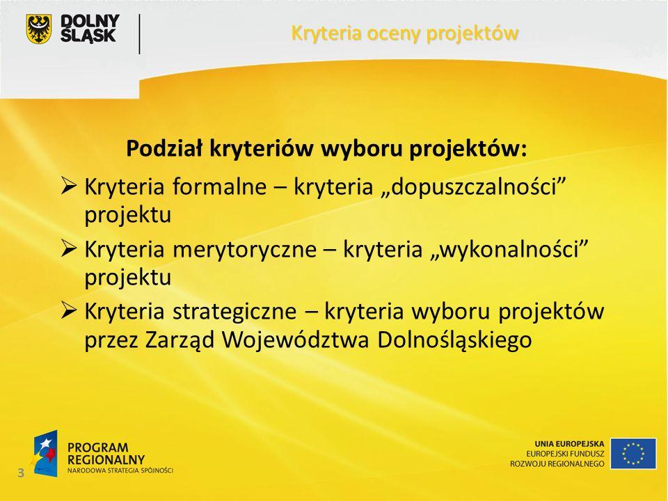 3 Kryteria oceny projektów Podział kryteriów wyboru projektów: Kryteria formalne – kryteria dopuszczalności projektu Kryteria merytoryczne – kryteria wykonalności projektu Kryteria strategiczne – kryteria wyboru projektów przez Zarząd Województwa Dolnośląskiego