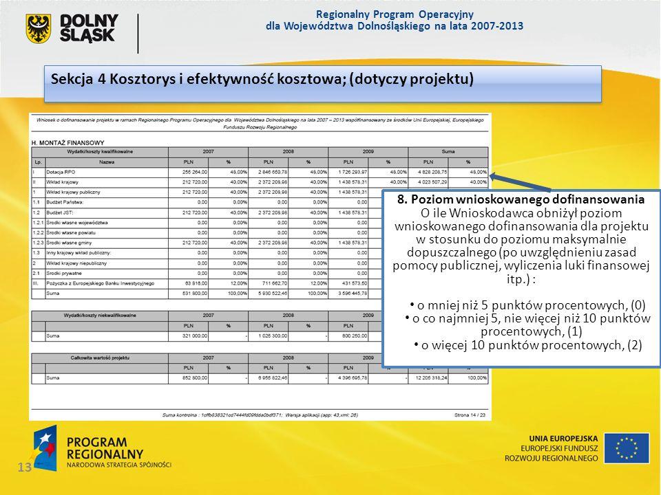 Regionalny Program Operacyjny dla Województwa Dolnośląskiego na lata 2007-2013 13 Sekcja 4 Kosztorys i efektywność kosztowa; (dotyczy projektu) 8. Poz