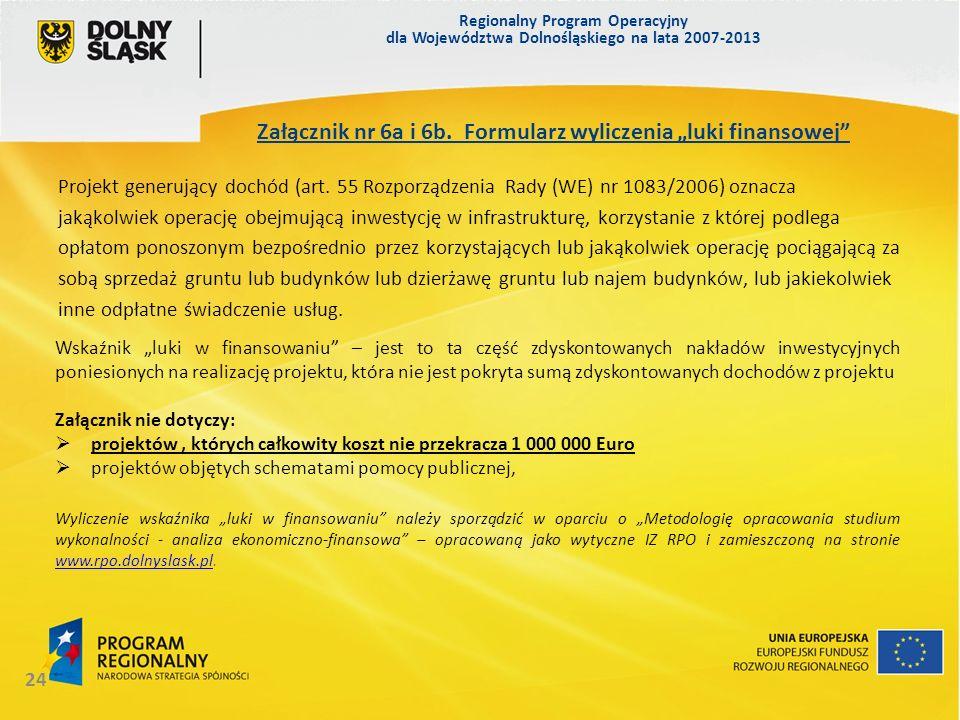 Regionalny Program Operacyjny dla Województwa Dolnośląskiego na lata 2007-2013 24 Załącznik nr 6a i 6b. Formularz wyliczenia luki finansowej Projekt g