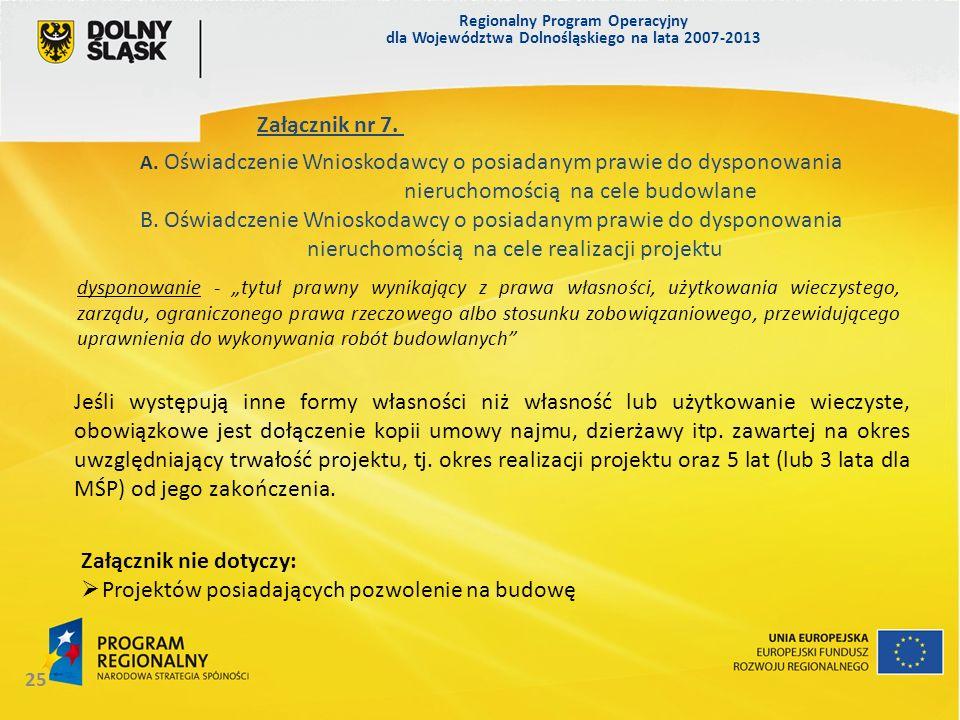 Regionalny Program Operacyjny dla Województwa Dolnośląskiego na lata 2007-2013 25 Załącznik nr 7. A. Oświadczenie Wnioskodawcy o posiadanym prawie do