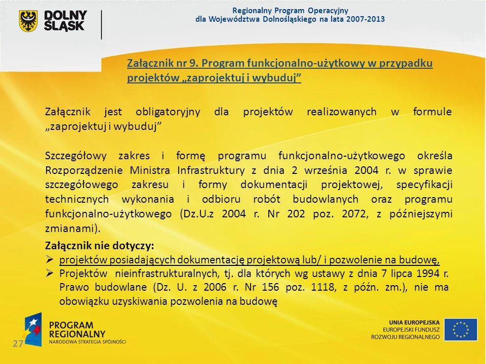Regionalny Program Operacyjny dla Województwa Dolnośląskiego na lata 2007-2013 27 Załącznik nr 9. Program funkcjonalno-użytkowy w przypadku projektów