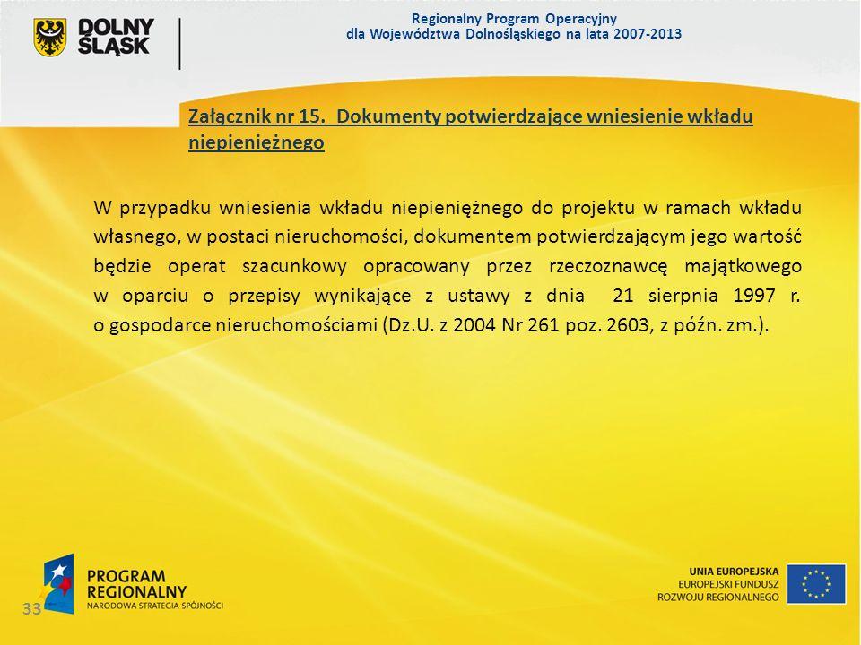 Regionalny Program Operacyjny dla Województwa Dolnośląskiego na lata 2007-2013 33 Załącznik nr 15. Dokumenty potwierdzające wniesienie wkładu niepieni