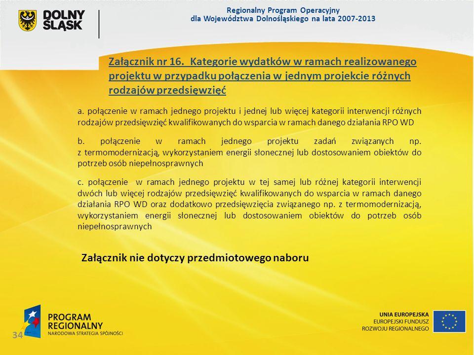 Regionalny Program Operacyjny dla Województwa Dolnośląskiego na lata 2007-2013 34 Załącznik nr 16. Kategorie wydatków w ramach realizowanego projektu