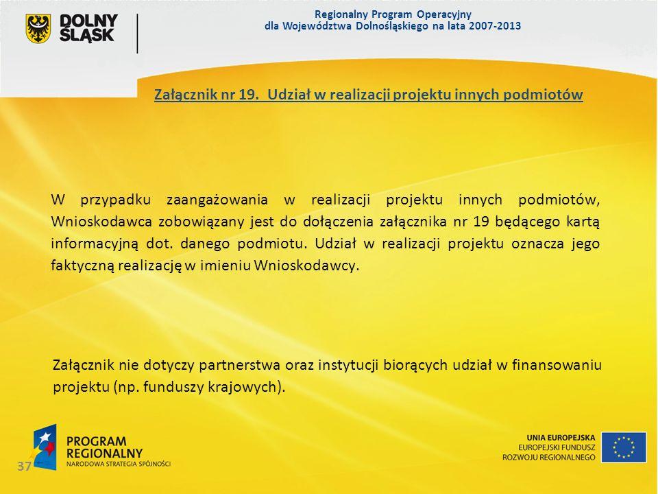 Regionalny Program Operacyjny dla Województwa Dolnośląskiego na lata 2007-2013 37 Załącznik nr 19. Udział w realizacji projektu innych podmiotów W prz