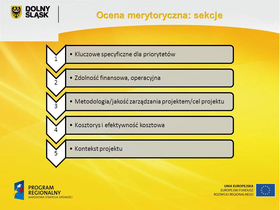 1 Kluczowe specyficzne dla priorytetów 2 Zdolność finansowa, operacyjna 3 Metodologia/jakość zarządzania projektem/cel projektu 4 Kosztorys i efektywność kosztowa 5 Kontekst projektu