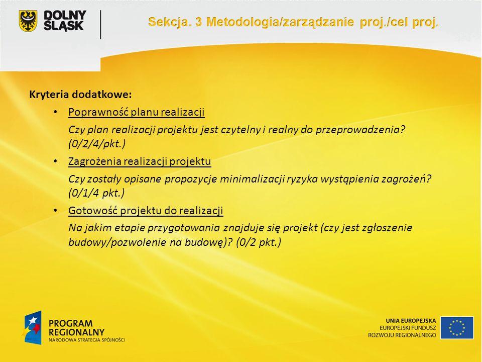 Kryteria dodatkowe: Poprawność planu realizacji Czy plan realizacji projektu jest czytelny i realny do przeprowadzenia? (0/2/4/pkt.) Zagrożenia realiz