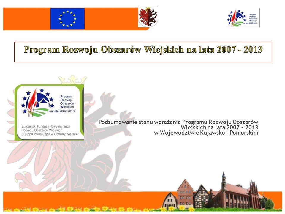 Podsumowanie stanu wdrażania Programu Rozwoju Obszarów Wiejskich na lata 2007 – 2013 w Województwie Kujawsko - Pomorskim