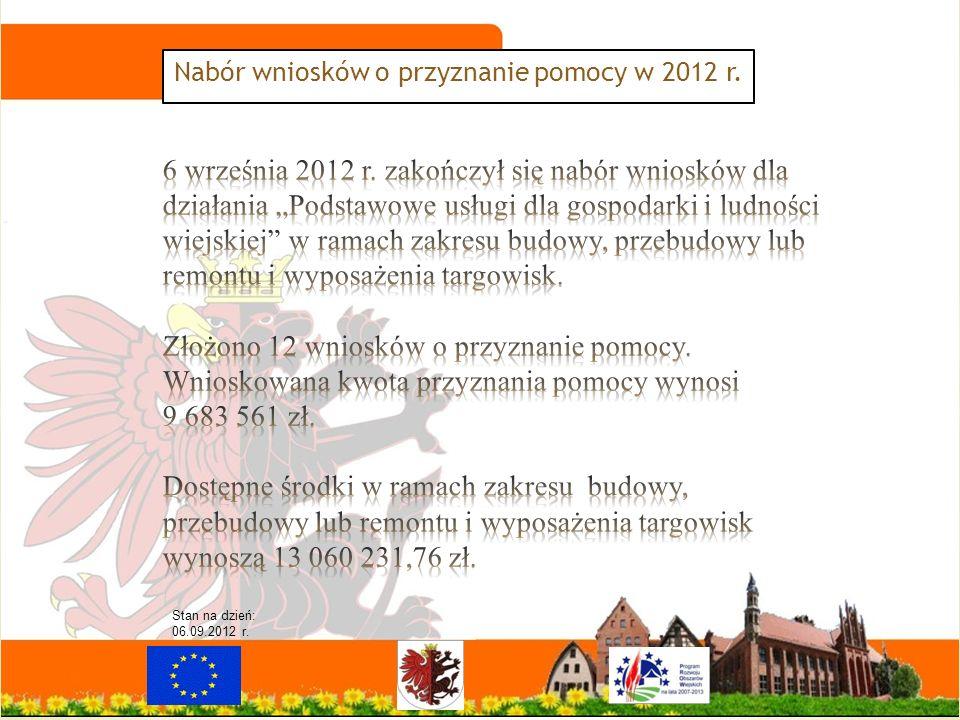 Nabór wniosków o przyznanie pomocy w 2012 r. Stan na dzień: 06.09.2012 r.