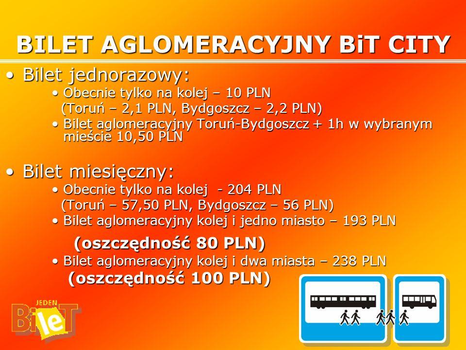 Bilet jednorazowy:Bilet jednorazowy: Obecnie tylko na kolej – 10 PLNObecnie tylko na kolej – 10 PLN (Toruń – 2,1 PLN, Bydgoszcz – 2,2 PLN) (Toruń – 2,