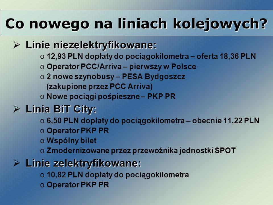 Linie niezelektryfikowane: o12,93 PLN dopłaty do pociągokilometra – oferta 18,36 PLN oOperator PCC/Arriva – pierwszy w Polsce o2 nowe szynobusy – PESA