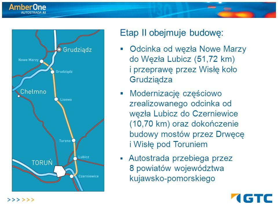 Etap II obejmuje budowę: Odcinka od węzła Nowe Marzy. do Węzła Lubicz (51,72 km). i przeprawę przez Wisłę koło. Grudziądza Modernizację częściowo. zre