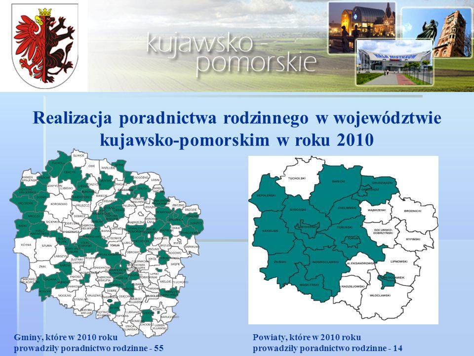 Realizacja poradnictwa rodzinnego w województwie kujawsko-pomorskim w roku 2010 Gminy, które w 2010 roku prowadziły poradnictwo rodzinne - 55 Powiaty, które w 2010 roku prowadziły poradnictwo rodzinne - 14