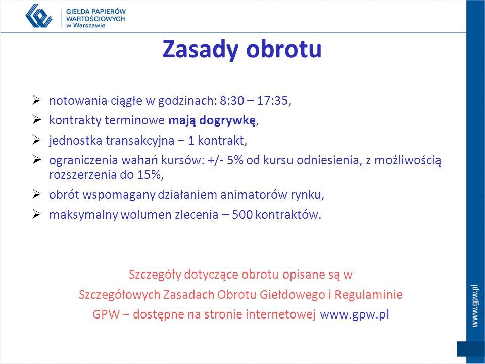 Nazwa skrócona kontraktu F XYZ k rr gdzie: F - rodzaj instrumentu XYZ - skrót nazwy instrumentu bazowego (określony przez Giełdę ) k - kod określający miesiąc wykonania kontraktu (określony przez Giełdę ) rr – dwie ostatnie cyfry roku wykonania Przykład: FTPSZ11 – kontrakt terminowy na akcje spółki Telekomunikacja Polska S.A.