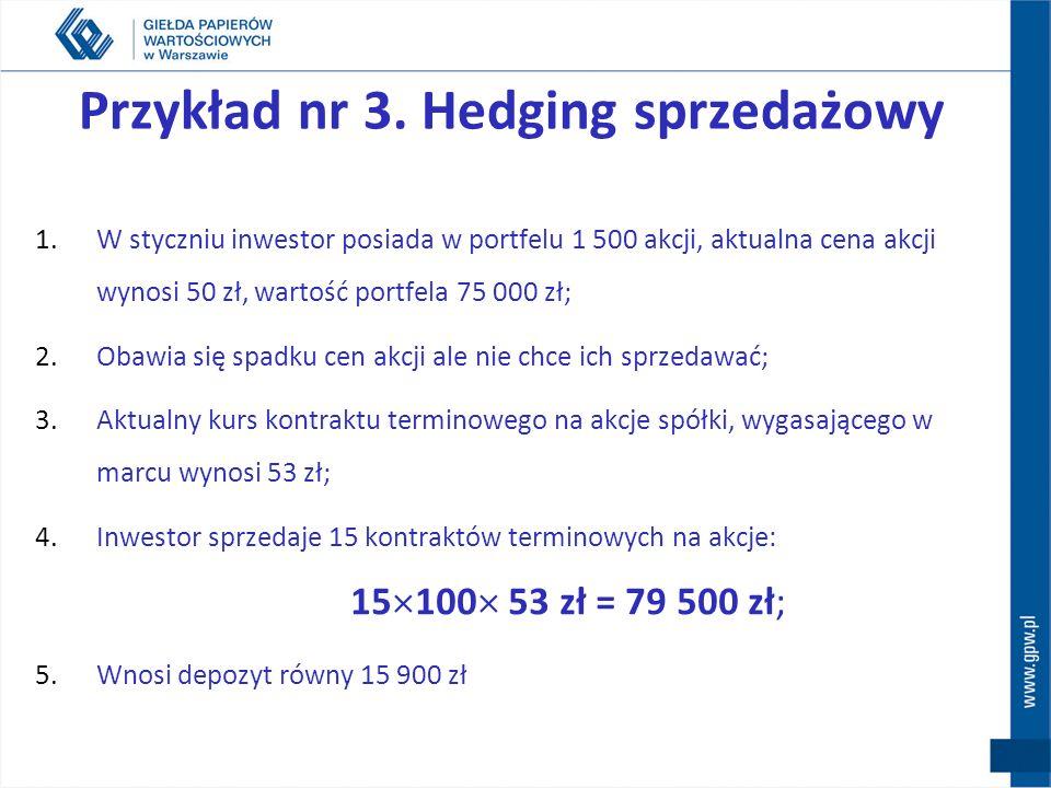 Hedging sprzedażowy - short hedge Pozycja długa STRATA Pozycja krótka ZYSK spadek cen akcji RYNEK KASOWY spadek kursu kontraktu RYNEK TERMINOWY STRATA