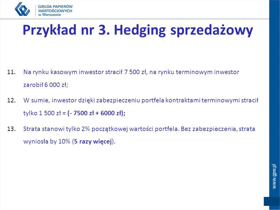Przykład nr 3. Hedging sprzedażowy 6.Tak jak przewidywał inwestor, kurs akcji spadł o zakładane 10%; 7.Wartość portfela na rynku kasowym spadła do 67