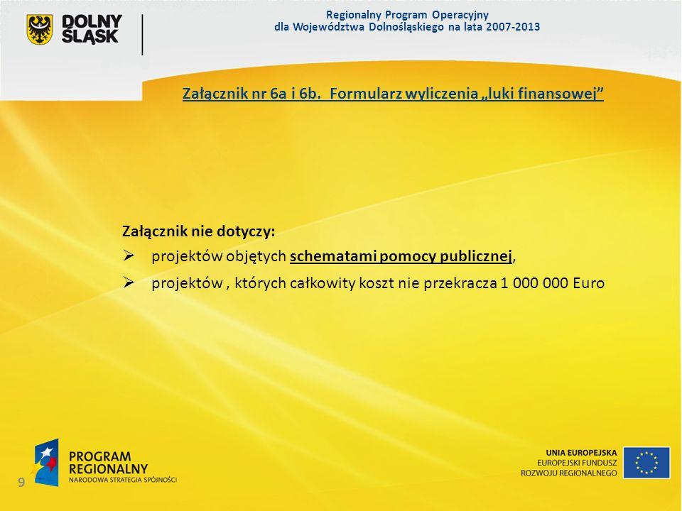 Regionalny Program Operacyjny dla Województwa Dolnośląskiego na lata 2007-2013 10 Załącznik nr 7.