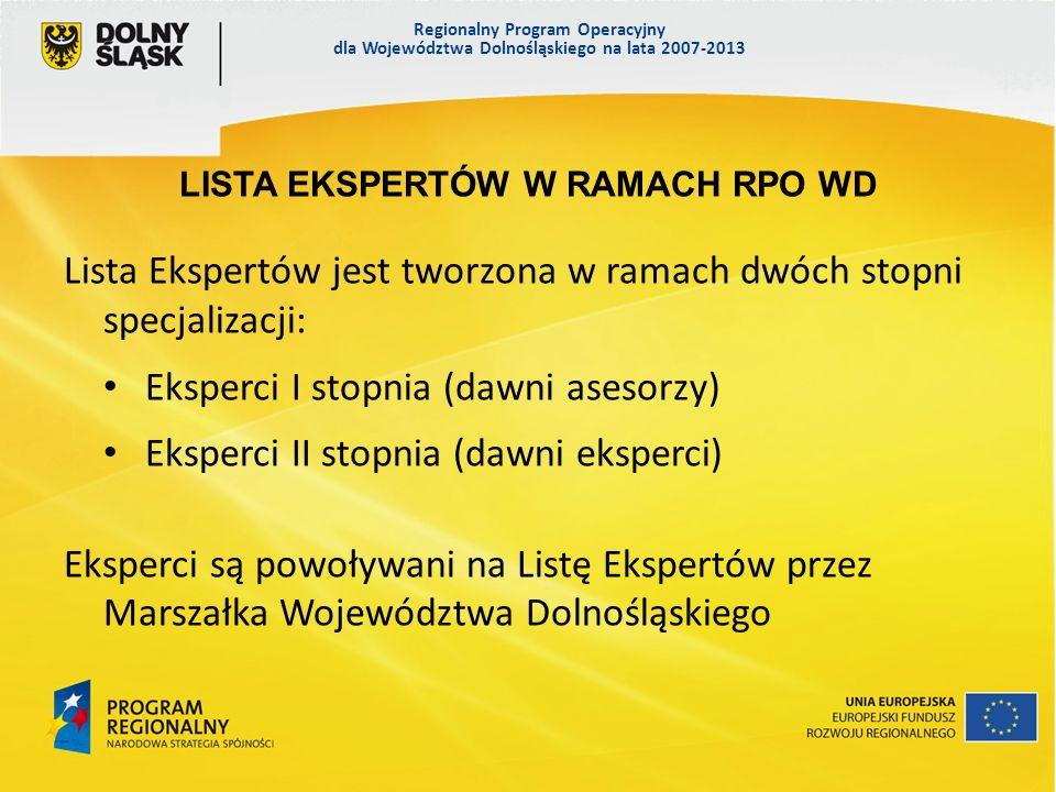 Regionalny Program Operacyjny dla Województwa Dolnośląskiego na lata 2007-2013 LISTA EKSPERTÓW W RAMACH RPO WD Lista Ekspertów jest tworzona w ramach dwóch stopni specjalizacji: Eksperci I stopnia (dawni asesorzy) Eksperci II stopnia (dawni eksperci) Eksperci są powoływani na Listę Ekspertów przez Marszałka Województwa Dolnośląskiego