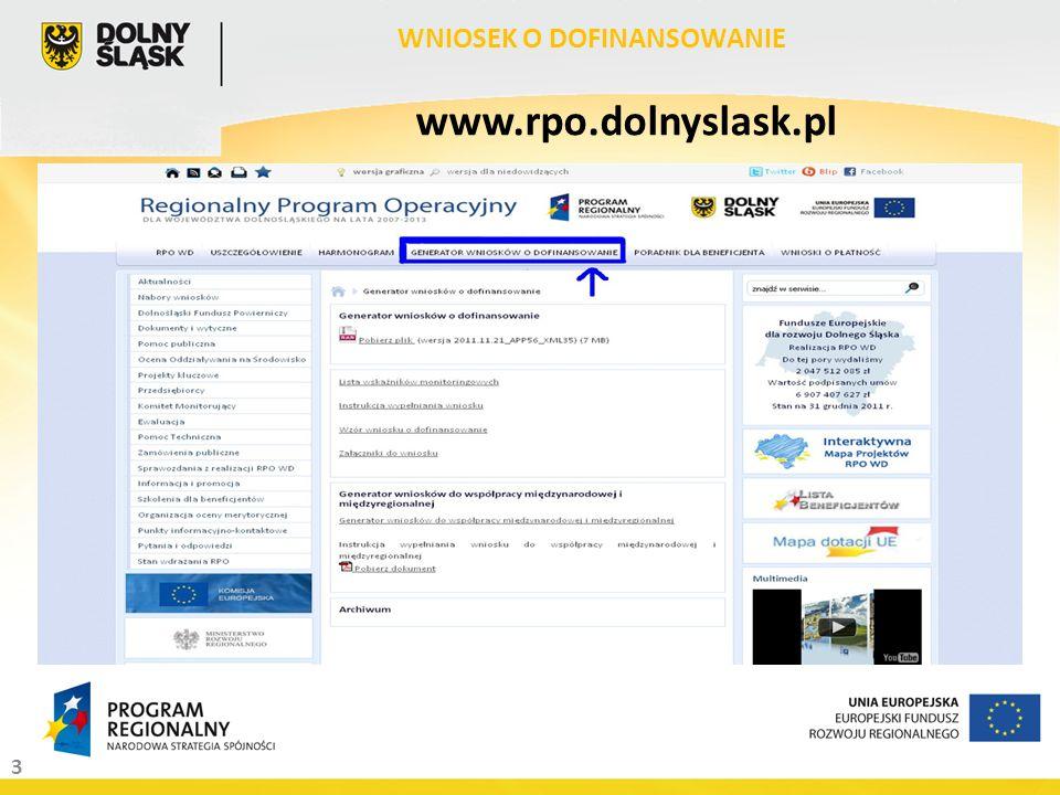 3 WNIOSEK O DOFINANSOWANIE www.rpo.dolnyslask.pl