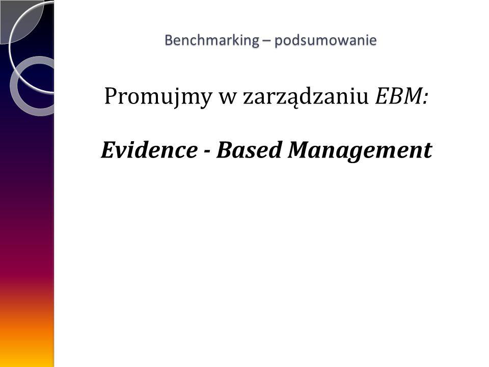 Promujmy w zarządzaniu EBM: Evidence - Based Management Benchmarking – podsumowanie