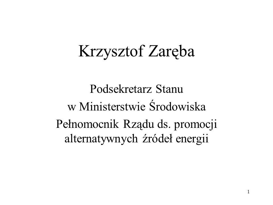 1 Krzysztof Zaręba Podsekretarz Stanu w Ministerstwie Środowiska Pełnomocnik Rządu ds. promocji alternatywnych źródeł energii