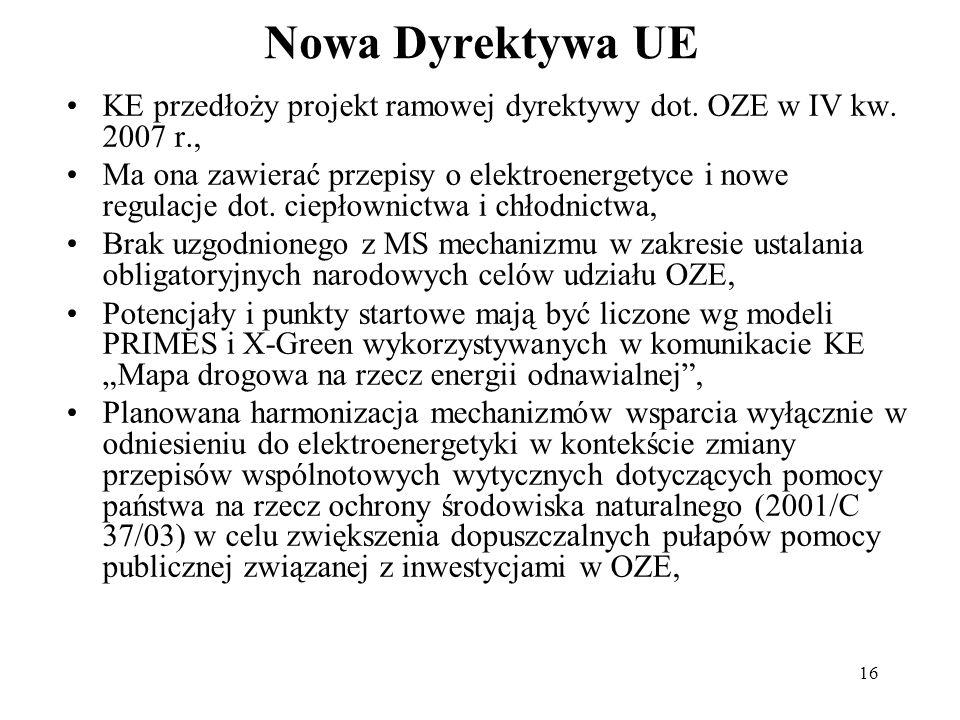 16 Nowa Dyrektywa UE KE przedłoży projekt ramowej dyrektywy dot. OZE w IV kw. 2007 r., Ma ona zawierać przepisy o elektroenergetyce i nowe regulacje d