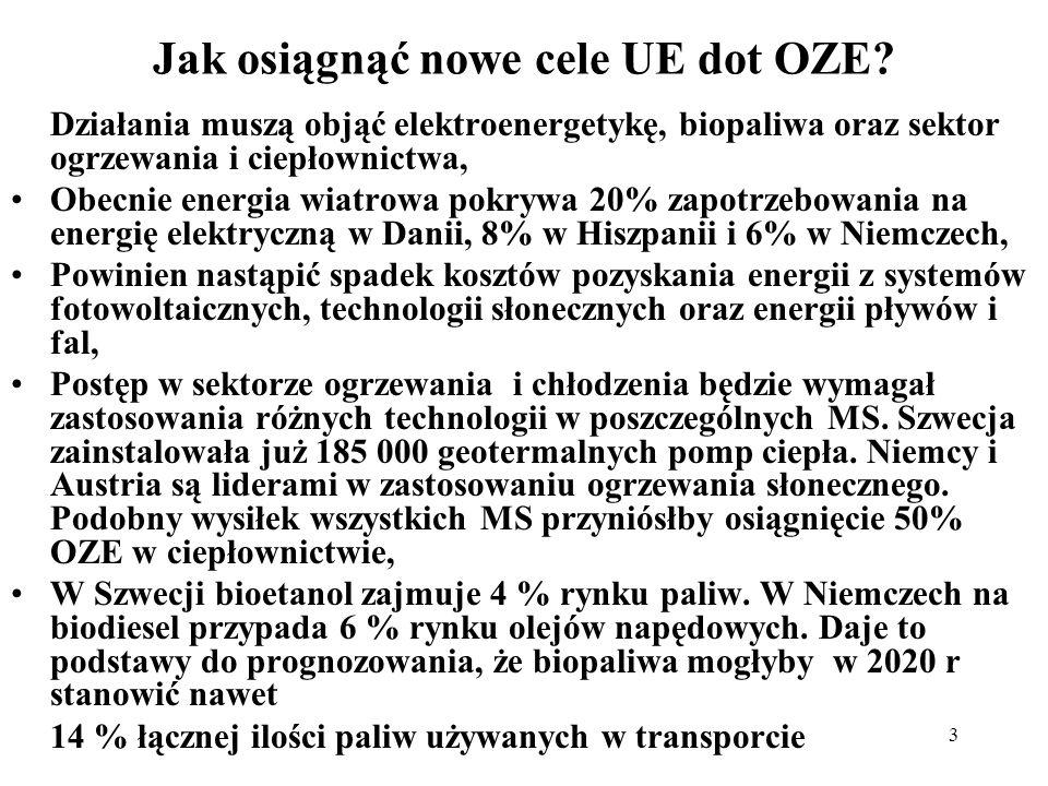 3 Jak osiągnąć nowe cele UE dot OZE? Działania muszą objąć elektroenergetykę, biopaliwa oraz sektor ogrzewania i ciepłownictwa, Obecnie energia wiatro