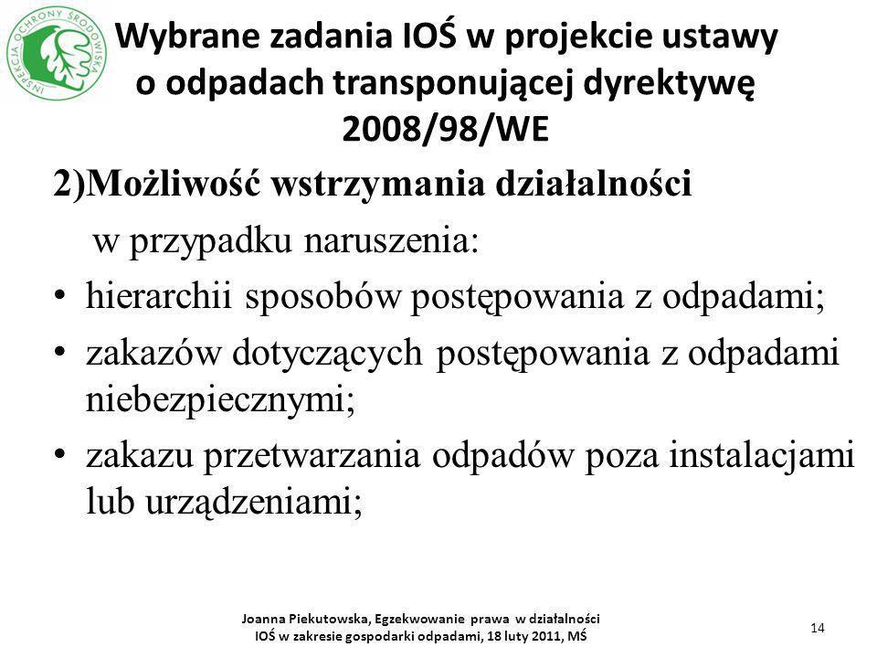 Wybrane zadania IOŚ w projekcie ustawy o odpadach transponującej dyrektywę 2008/98/WE 2)Możliwość wstrzymania działalności w przypadku naruszenia: hie