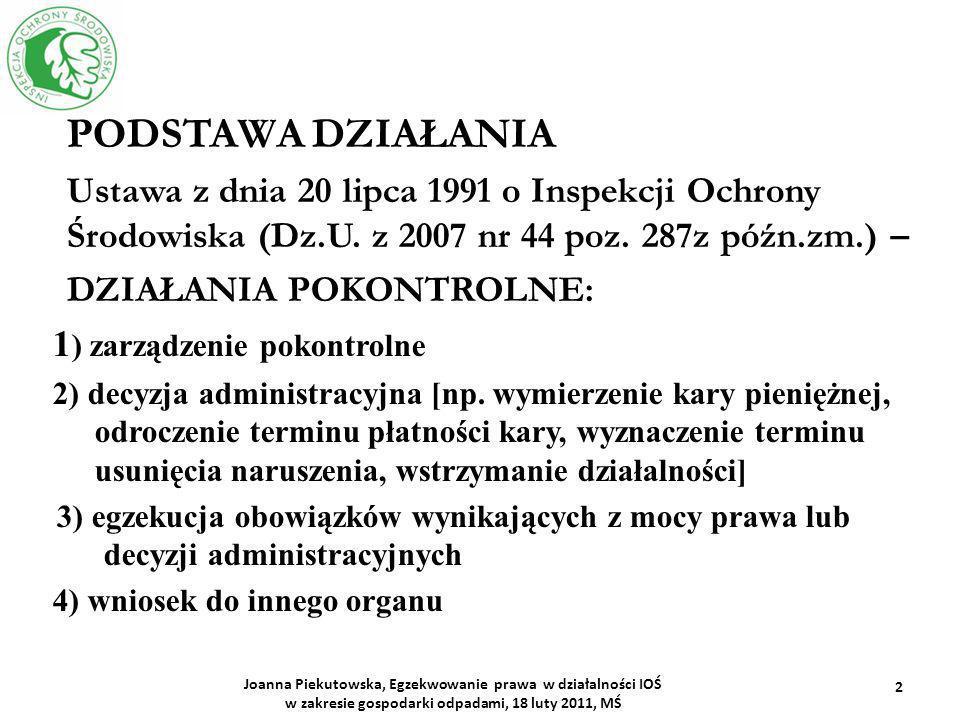 PODSTAWA DZIAŁANIA Ustawa z dnia 20 lipca 1991 o Inspekcji Ochrony Środowiska (Dz.U. z 2007 nr 44 poz. 287z późn.zm.) – DZIAŁANIA POKONTROLNE: 1 ) zar